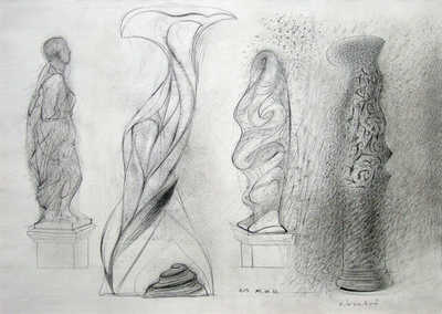 Drawings: Four studies of Cegled Town Hall sculptures (1994)